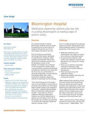 Medication dispensing cabinets play key role in putting Bloomington at leading edge of patient safety