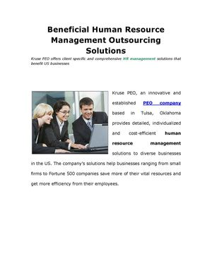 Beneficial Human Resource Management Outsourcing Solutions