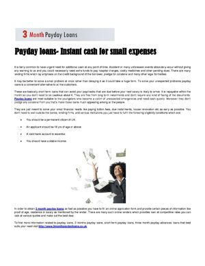 Payday loans- Instant cash for small expenses
