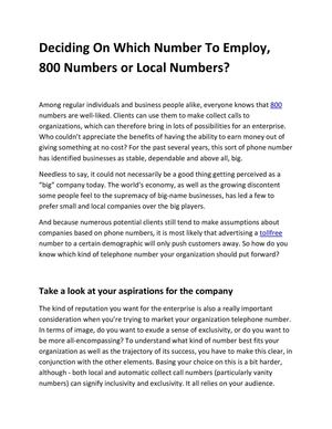 Deciding On Which Number To Employ, 800 Numbers or Local Numbers?