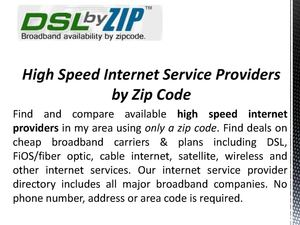 Internet Providers By zip Code
