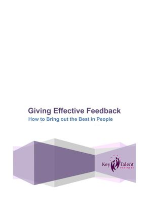 How to give feedback Workbook