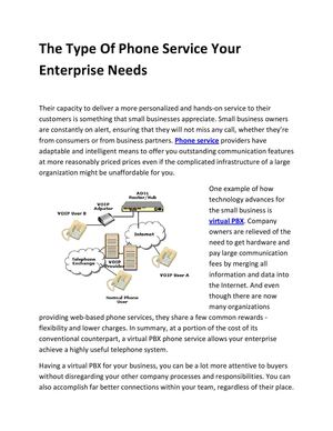 The Type Of Phone Service Your Enterprise