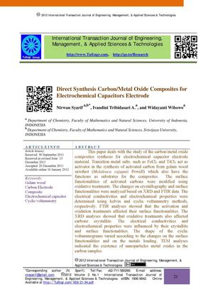 Direct Synthesis Carbon/Metal Oxide Composites for Electrochemical Capacitors Electrode