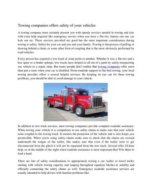 Towing companies offers safety of your vehicles