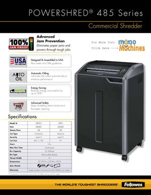 Fellowes 485Ci Cross-Cut Shredder Spec Sheet