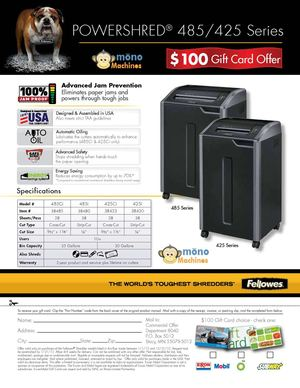 Fellowes 485i Shredder Rebate Q1 2012 100 Gift Card