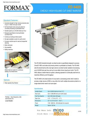 Formax FD 4400 High Volume Cut Sheet Burster Spec Sheet