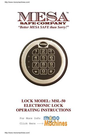 Mesa Safe MBF1512E Burglary And Fire Safe Hammered Grey Burglary Operating Manual