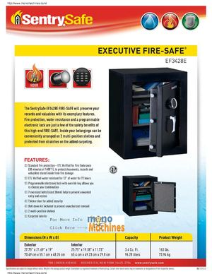 Sentry Safe EF3428E Executive Fire Safe Spec Sheet