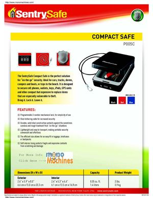 Sentry Safe P005C Compact Security Safe Spec Sheet