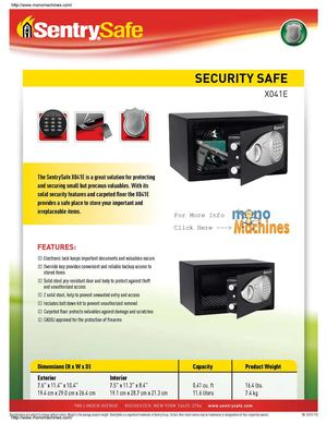 Sentry Safe X041E Electronic Security Safe Spec Sheet