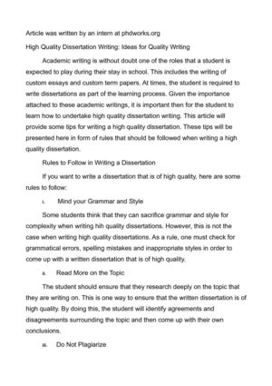 High Quality Dissertation Writing: Ideas for Quality Writing