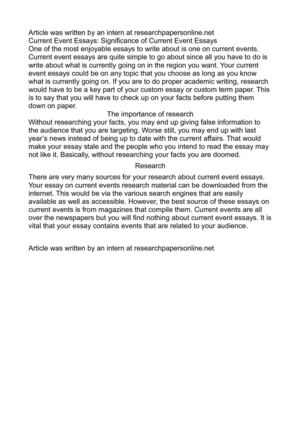 Current Event Essays: Significance of Current Event Essays