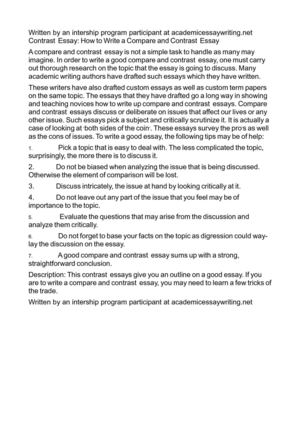 Contrast  Essay: How to Write a Compare and Contrast  Essay