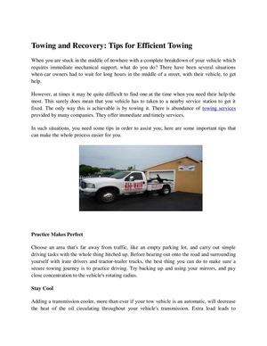 Towing and Recovery: Tips for Efficient Towing