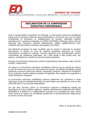 FO : DECLARATION DE LA COMMISSION EXECUTIVE CONFEDERALE du 19/01/2012