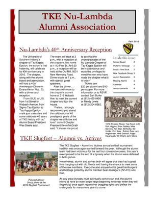 TKE Nu-Lambda Alumni - Fall 2010 Newsletter