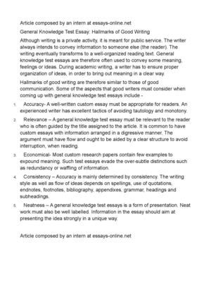 writting essay for general knowledge test