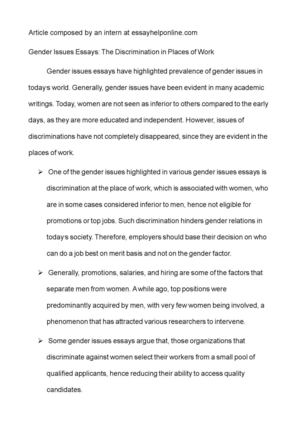 Small Essays In English Gender Issues Essays The Discrimination In Places Of Work Essay About Learning English Language also Essays On Business Ethics Calamo  Gender Issues Essays The Discrimination In Places Of Work Gender Equality Essay Paper