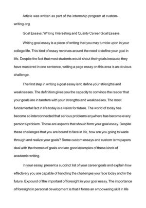 Calam o goal essays writing interesting and quality career goal