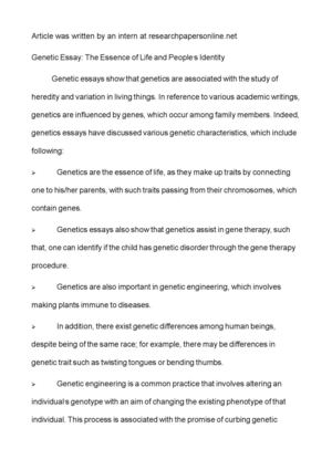 Health Care Essay Topics Genetic Essay The Essence Of Life And Peoples Identity Modest Proposal Essay Ideas also Argumentative Essay Topics For High School Calamo  Genetic Essay The Essence Of Life And Peoples Identity Examples Of Thesis Statements For Expository Essays