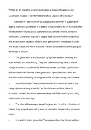 How To Start A Synthesis Essay Generation Y Essay The Internet Generation Leaders Of Tomorrow Essay On Business Management also Sample Of Proposal Essay Calamo  Generation Y Essay The Internet Generation Leaders Of  Science Development Essay