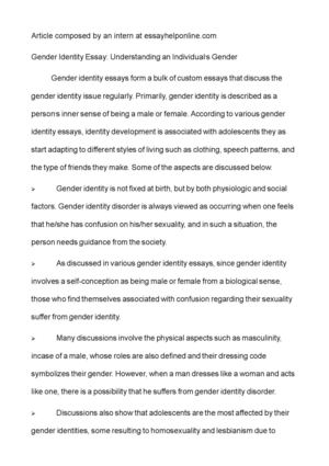 Classification Essay Thesis Statement Gender Identity Essay Understanding An Individuals Gender Business Communication Essay also Essay Papers Online Calamo  Gender Identity Essay Understanding An Individuals Gender How To Write A Good Thesis Statement For An Essay