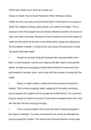 My Neighborhood Essay Essay On Death How To Avoid Pessimism When Writing An Essay Why Is Education Important Essay also Essay Indian Culture Calamo  Essay On Death How To Avoid Pessimism When Writing An Essay Essay About Earthquake