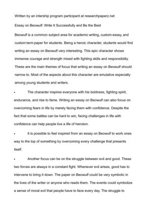 Calamo Essay On Beowulf Write It Successfully And Be The Best