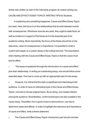 Buy Essay Paper  English Essay Examples also Proposal Essay Example Calamo  Cause And Effect Essay Topics Writing Tips For  E Business Essay