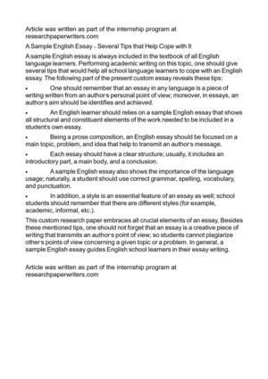 Calamo  A Sample English Essay  Several Tips That Help Cope With It A Sample English Essay  Several Tips That Help Cope With It Examples Of A Proposal Essay also Online Writing Community  Quality Article Writing Service