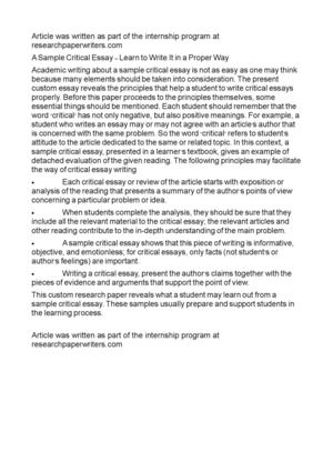 Thesis Statement For A Persuasive Essay A Sample Critical Essay  Learn To Write It In A Proper Way Narrative Essay Example High School also Essays About Business Calamo  A Sample Critical Essay  Learn To Write It In A Proper Way Thesis Statements Examples For Argumentative Essays