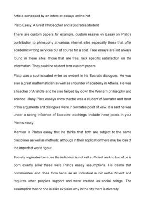 Calamo  Plato Essay A Great Philosopher And A Socrates Student Plato Essay A Great Philosopher And A Socrates Student Proposal Essay Topics Ideas also A Modest Proposal Ideas For Essays  Academic Writing Help