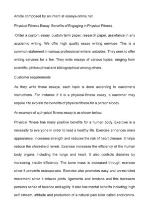 Calamo  Physical Fitness Essay Benefits Of Engaging In Physical  Physical Fitness Essay Benefits Of Engaging In Physical Fitness An Essay On Newspaper also Paper Essay Writing Essay Proposal Examples