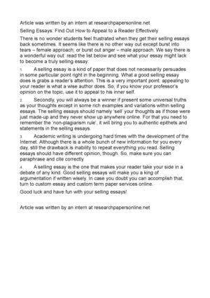 How To Write An Essay In High School Selling Essays Find Out How To Appeal To A Reader Effectively Essay Thesis Statements also Essay On Business Calamo  Selling Essays Find Out How To Appeal To A Reader Effectively Comparison Contrast Essay Example Paper