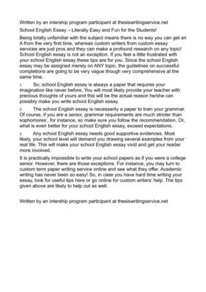 Essay About Science  How To Write A Good Proposal Essay also Essay About Healthy Food Calamo  School English Essay  Literally Easy And Fun For  Thesis Essay