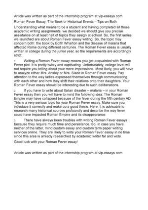 Essay: Roman Fever & Janus