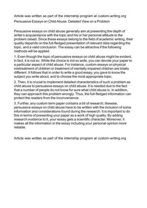 Calamo  Persuasive Essays On Child Abuse Detailed View On A Problem Persuasive Essays On Child Abuse Detailed View On A Problem