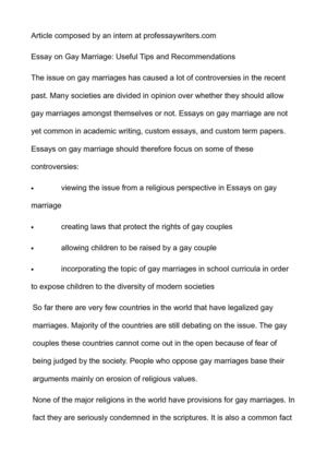 High School Vs College Essay Compare And Contrast Essay On Gay Marriage Useful Tips And Recommendations Synthesis Essay also Proposal Example Essay Calamo  Essay On Gay Marriage Useful Tips And Recommendations Essay On Health Care Reform