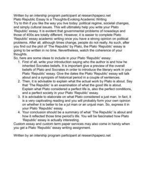 Plato's Republic Republic [Politeia], Plato - Essay