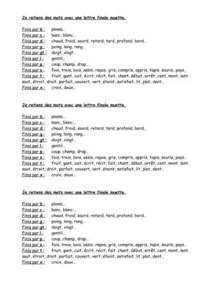 Cycle   Orthographe Lettres Finales Muettes Liste De Mots