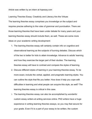 learning theories essay creativity and literacy are the  learning theories essay creativity and literacy are the virtues