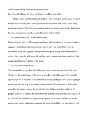 Sample Essays High School Students Les Miserables Essay An Essay On Hugos Novel Les Miserables Terrorism Essay In English also Examples Of Thesis Statements For Narrative Essays Calamo  Les Miserables Essay An Essay On Hugos Novel Les Miserables Making A Thesis Statement For An Essay