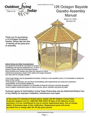 calam o 12 ft octagon bayside gazebo assembly manual rh calameo com Octagon Gazebo Canopy Octagon Gazebo Plans