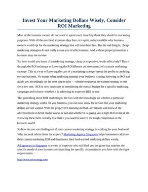 Invest Your Marketing Dollars Wisely, Consider ROI Marketing