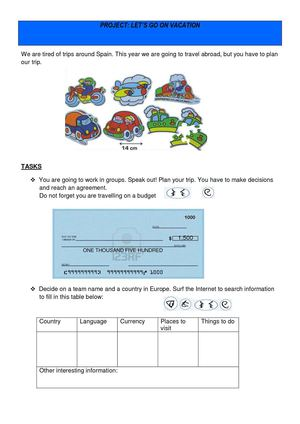 Planning a trip abroad - Student's worksheets.