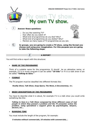 My TV programme - Student's worksheets