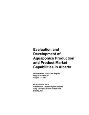 Evaluation and Development of Aquaponics Production and Product Market in Alberta