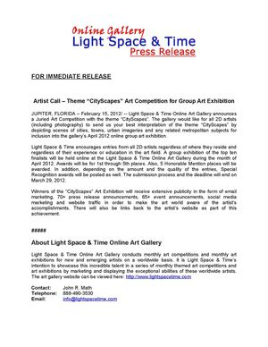 "Artist Call – Theme ""CityScapes"" Art Competition"